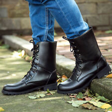 Cool Women Military Lace-up Martin Short Flat Shoes Goth Punk Ankle Boots Black
