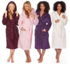 Ladies Luxury Hooded Snuggle Bath Spa Robe Plus Size Fleece Dressing Gown Gift