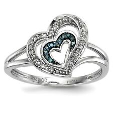 Sterling Silver W/Rhodium-plated Blue & White Diamond Heart Ring