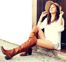 Camel Western Thigh high Riding Boots Block Heel Pointy toe Women's shoes