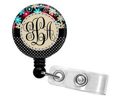 FLOWER & POLKA MONOGRAM PERSONALIZED RETRACTABLE ID BADGE HOLDER OR LANYARD