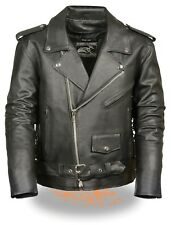 Men's Classic Motorcycle Biker Side Lace Police Leather Jacket W/Zip Out Liner