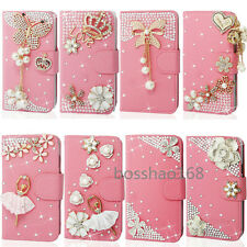 Magnetic Bling Crystal Diamonds PU leather flip wallet  case cover for LG#2