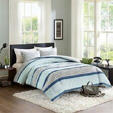 Beautiful Reversible Blue Grey Striped Comforter Set Unisex FULL/QUEEN TWIN