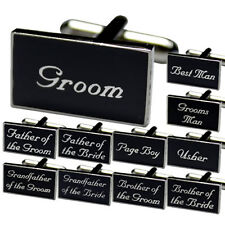 Black Wedding cufflinks with Free Gift Box Free Tie Tac Groom Groomsman Best Man