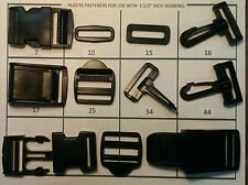 "1 1/2"" Webbing Side Release Buckle, Cam Buckle, Ladder Rack, Snap Hook, Square"