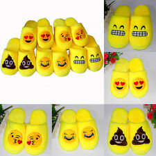 Cute Men Women Emoji Expression Slippers Winter Warm Pajamas Home Indoor Shoes