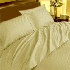 THREAD TREASUREs COMPLETE STRIPE BEIGE BEDDING COLLECTION 1000TC 100% COTTON - G