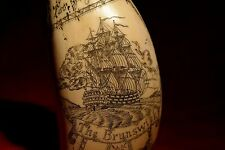 """scrimshaw tooth  """"The Brunswick""""  and Admiral """"Howe""""  museum Quality!  exquisite"""