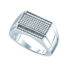 Sterling Silver 0.33ct Glamorous Micro Pave Diamond Mens Wedding Engagement Ring