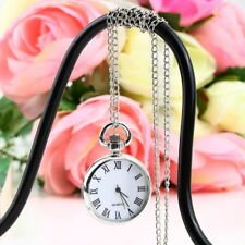 Antique NEW Dial Quartz Round Pocket Watch Necklace silver Chain Pendant DP