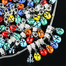 Multicolor Murano Lampwork Glass Ladybug Ladybird Charm Loose Beads Fit Bracelet
