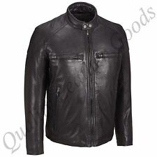 MEN GENUINE LEATHER JACKET BIKER BLUF ROCK PUNK FRONT ZIP STUDDED COLLAR HARLEY