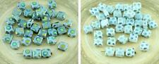 30pcs Opal Dotted Peacock Vitrail Flat Square Tile One Hole Czech Glass Beads 6m