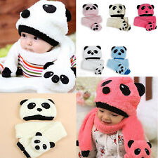 Winter Baby Toddler Girl Boy Warm Cute Panda Hat Cap Beanie Scarf Set Kids Child