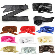 Women's PU Leather Soft Self Tie Bowknot Wide Band Wrap Around Sash Obi Belt
