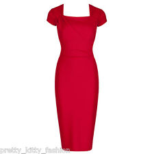 PRETTY KITTY 40s RED CAPPED BODYCON WIGGLE PENCIL VINTAGE COCKTAIL DRESS 8-18