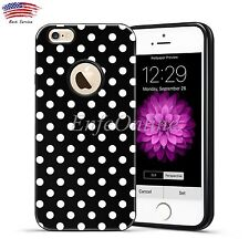 Black Case Soft Rubber Hard TPU Design Polka-dot Cover for Apple iPhone 6 6S New