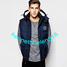 NWT ABERCROMBIE & FITCH MENS SHERPA LINED VEST JACKET COAT NAVY SIZE LARGE A&F