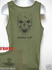 USMC FORCE RECON TANK TOP/ OD GREEN/ SKULL DOUBLE TAP/ NEW/ MILITARY