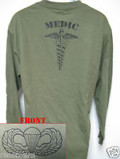 AIRBORNE LONG SLEEVE T-SHIRT/ MEDIC/ COMBAT / MILITARY/   NEW