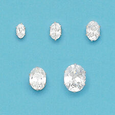 Sterling Silver OVAL Cubic Zirconia Stud Earrings-Silver Oval Stud Earrings
