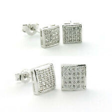 925 Sterling Silver Micro Pave SQUARE Stud Earrings-Micro Pave CZ Stud Earrings