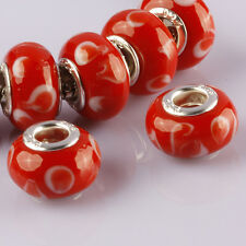 Red Murano Lampwork Glass Big Hole Loose Beads Fit European Charms Bracelet