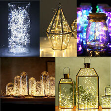 2/5/10M Button Battery Operated LED Copper Wire String Fairy Lights Xmas DE