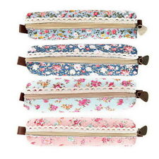 Girls Flower Lace Floral Pencil Case Pen Bag Purse Cosmetic Makeup Pouch Bag DE
