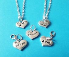 """AUNT NIECE COUSIN heart 18"""" silver tone necklaces FAMILY jewellery gift"""