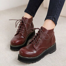 Punk Womens Girls Lace Up Platform Ankle Boot Goth Sneaker High Top Shoes
