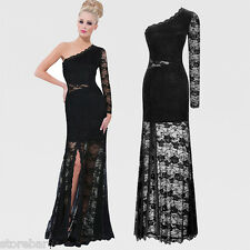 One Shoulder Formal Dress Lace Ball Gown Evening Party Cocktail Sexy Maxi Dress
