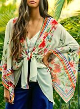 Flying Tomato QUEEN OF THE GYPSIES Boho Ivory Floral Woven Kimono Cardigan S-L