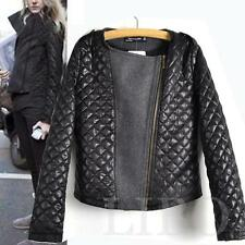 Fashion Women Lady Leather Quilted Stitching Jacket Slim Short Warm Coat Blazer