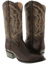 mens chocolate brown smooth genuine ostrich leg western leather cowboy boots
