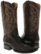 mens brown genuine smooth ostrich leg western square toe leather cowboy boots