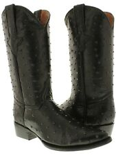 mens black full ostrich quill exotic print collection western cowboy boots new