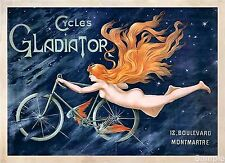 Vintage French Gladiator Cycles Bicycle Travel Advertisement Poster Print A3 A4