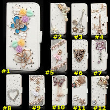 Bling Crystal Magnetic Diamonds PU leather flip slots wallet case cover skin HB