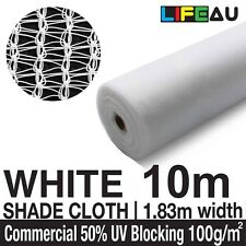 50% WHITE 1.83 x 10m Shade Cloth Shadecloth 1.83m wide Greenhouse Mesh