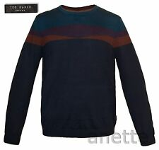 TED BAKER LONDON Merino Wool Mens Knit Jumper Ribbed Trim Crew Neck BNWT