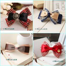Fashion Korean Handmade Lady Girl Gift Grid Bow Ribbon Color Hair Clip Headband