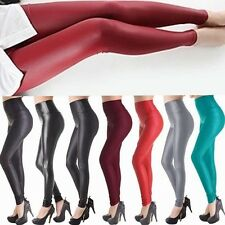 Tight High Waisted Women's Faux Leather Leggings Stretch Slim Pencil Pants -UD2