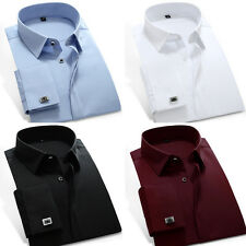 New Mens French Cuff Shirt Formal Casual Business Dress Shirts US XS-XXL ZC6332