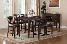 Counter Height Dining Table Set Butterfly Leaf Faux Leather Chair Bench Server