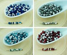 100pcs Silver Half Round Faceted Fire Polished Czech Glass Beads Small Spacer 3m