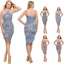 WOMENS SEXY HALTER  BODYCON MIDI DRESS LEOPARD COCKTAIL EVENING PARTY DRESSES
