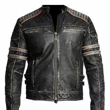 Mens Biker Vintage Motorcycle Distressed Black Retro Leather Jacket
