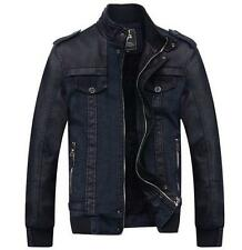 Mens Thicken Coat Jackets Fur lined Collar Denim faux Leather slim fit jacket